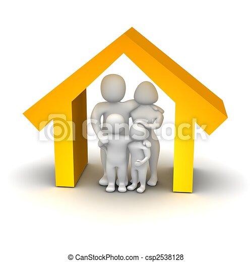 Happy family inside house. 3d rendered illustration. - csp2538128