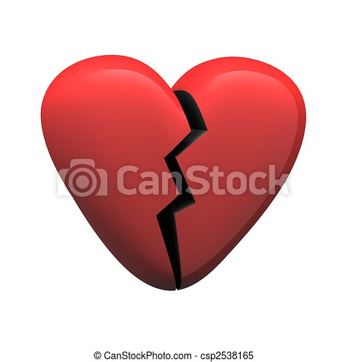 Red glossy broken heart isolated on white. 3d rendered illustration. - csp2538165