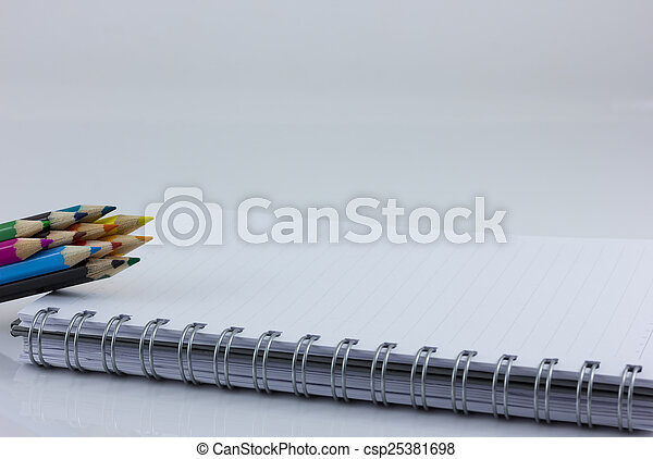 blank notebook isolated with color pencil