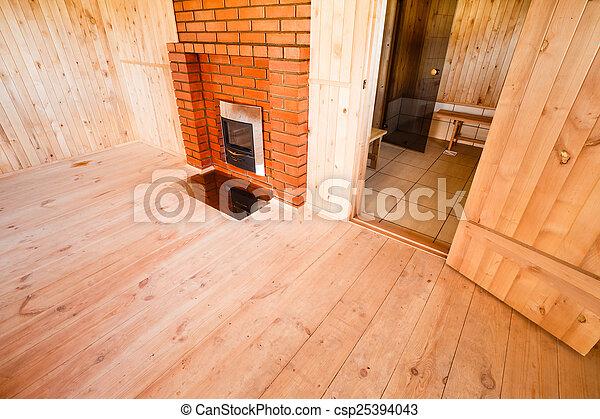 photo de int rieur de les sauna chemin e personne. Black Bedroom Furniture Sets. Home Design Ideas