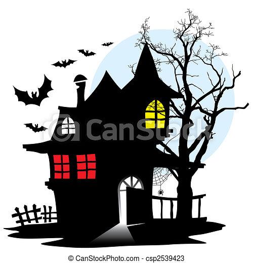 Vecteurs de maison vampire halloween nuit d moniaque maison de csp2539423 - Halloween fensterbilder ...