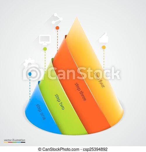 Vector pyramid infographic. Design template. - csp25394892
