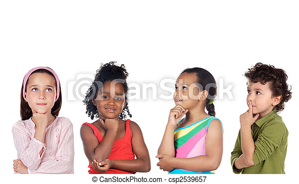 multiethnic group of children thinking - csp2539657