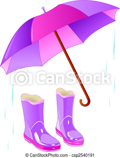Rain boots and umbrella - csp2540191