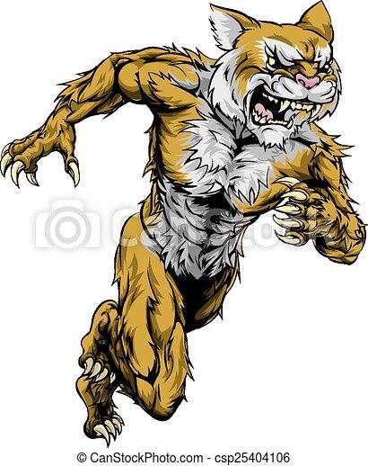 Vector Clipart of Wildcat sports mascot running - A wildcat man ...