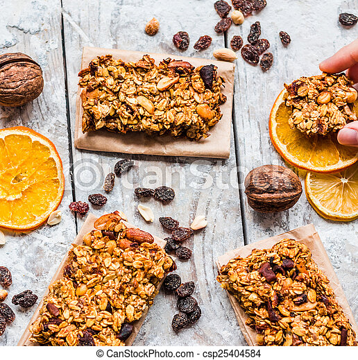 granola bars citrus, peanut butter and dried fruit, Healthy eating ...