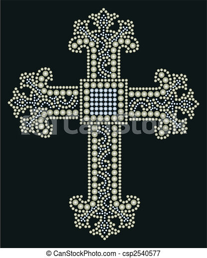 shiny cross stone beaded design  - csp2540577