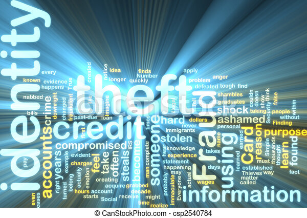 Identity theft wordcloud glowing - csp2540784