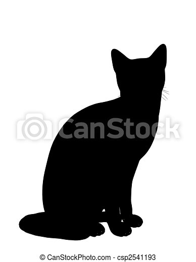 Dessins de silhouette illustration chat noir chat - Dessin silhouette chat ...