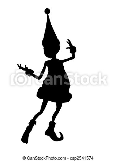 Christmas Elf Silhouette Illustration - csp2541574