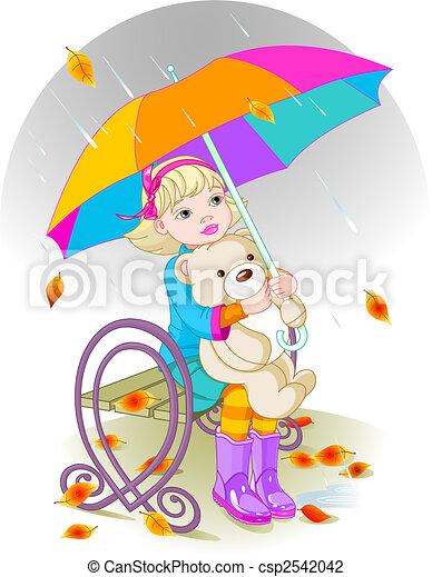 Little girl and Teddy Bear - csp2542042
