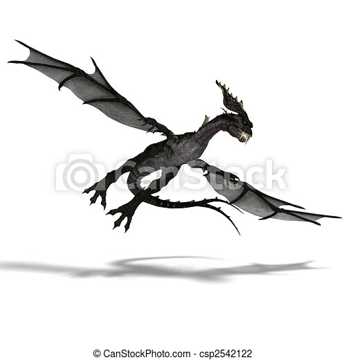 giant terrifying dragon with wings and horns attacks - csp2542122