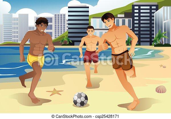 Illustrations Vectorises de football hommes plage jouer  A