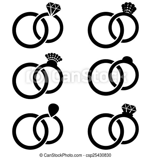 Vectors Of Wedding Ring Icons