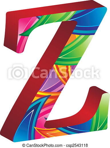Colored alphabet with spikes and leaves - csp2543118