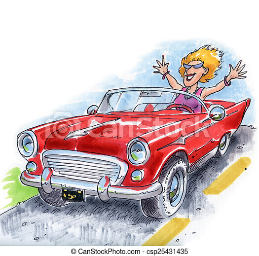 dessins de voiture sportif classique a femme conduite a voiture csp25431435. Black Bedroom Furniture Sets. Home Design Ideas