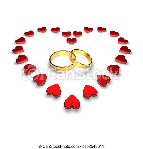 Clipart de Anneaux, mariage - mariage, Anneaux, entouré, par, cœurs ...