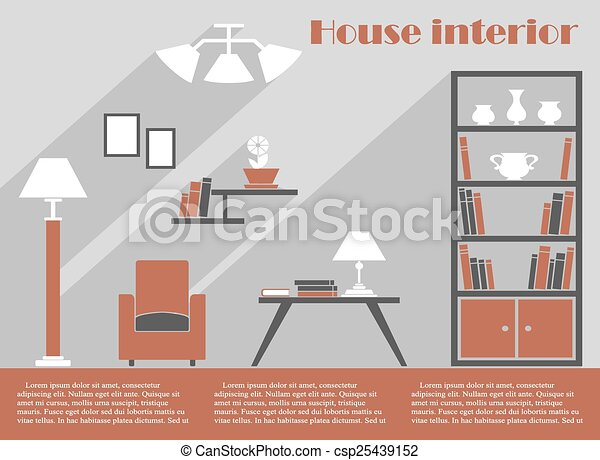 house interior design infographic template csp25439152