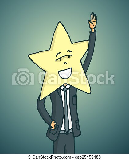 Vector of Popluar celebrity with star face waving - Cartoon ...