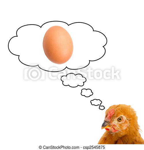 Brown hen thinking about having a egg  - csp2545875