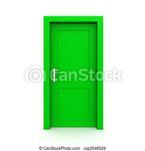 Closed Single Green Door - csp2546529