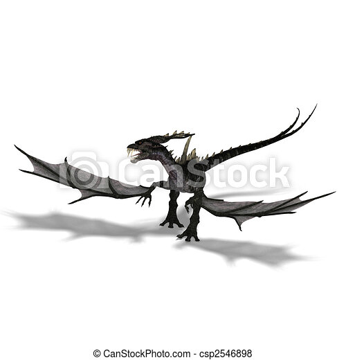 giant terrifying dragon with wings and horns attacks - csp2546898