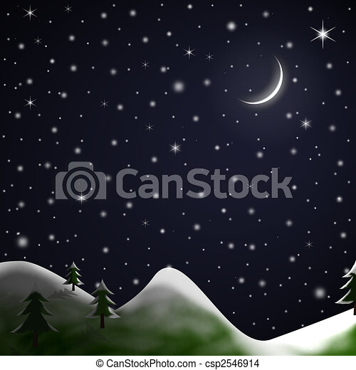 Christmas Scene - Starry Snowy Night - csp2546914