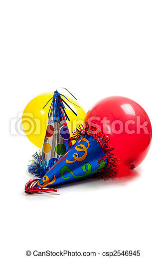 birthday party hats and balloons on a white back ground - csp2546945