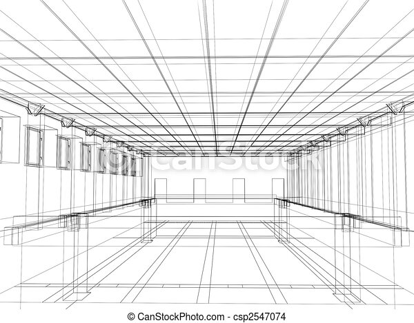 3d sketch of an interior of a public building - csp2547074