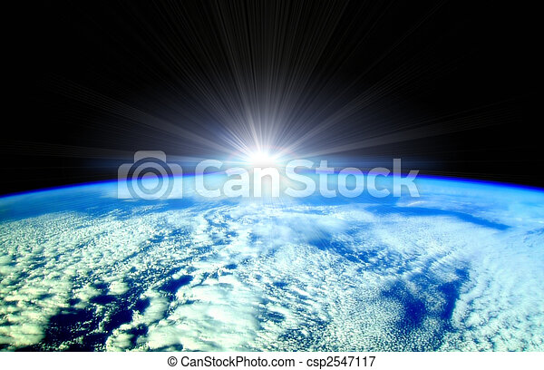Sun beams over Earth horizon - csp2547117