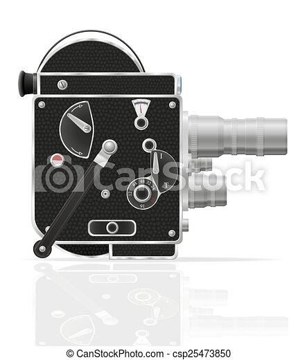 Clipart Vector of old retro movie video camera - old retro vintage ...