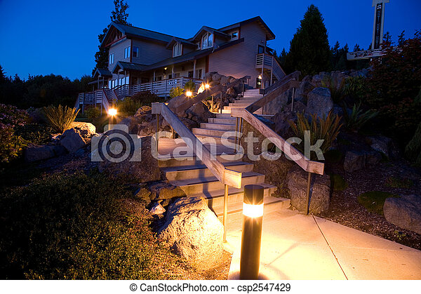 Night Landscaping and Architecture - csp2547429
