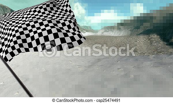 Large Checkered Flag - csp25474491