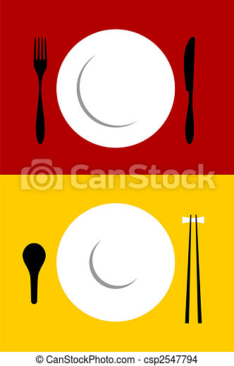 Place setting backgrounds on red and yellow - csp2547794