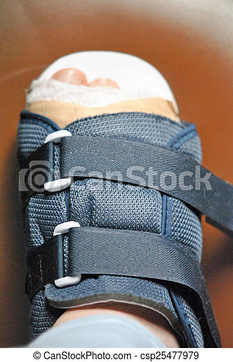 Injured foot with bandages and orthopedic shoe.