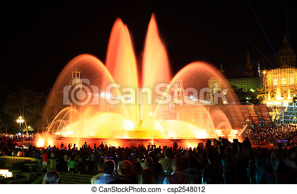 The famous Montjuic Fountain in Barcelona - csp2548012