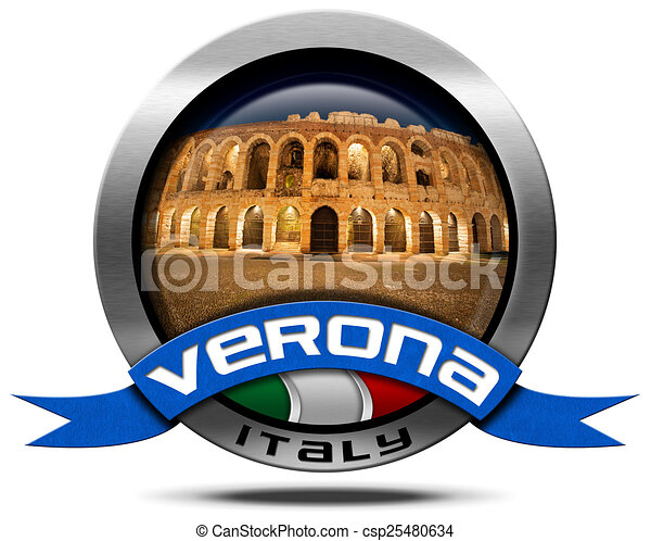 Drawings of Verona Italy - Metal Icon with Arena - Metal ...