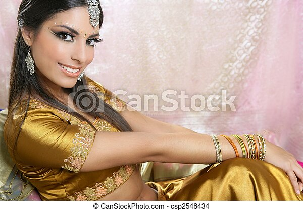 Beautiful indian brunette traditional fashion style - csp2548434