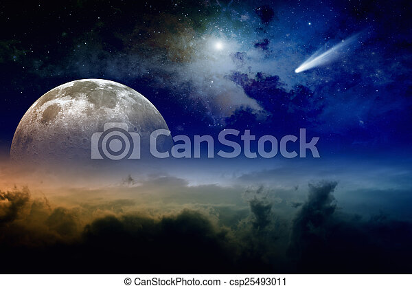 Full moon and comet - csp25493011