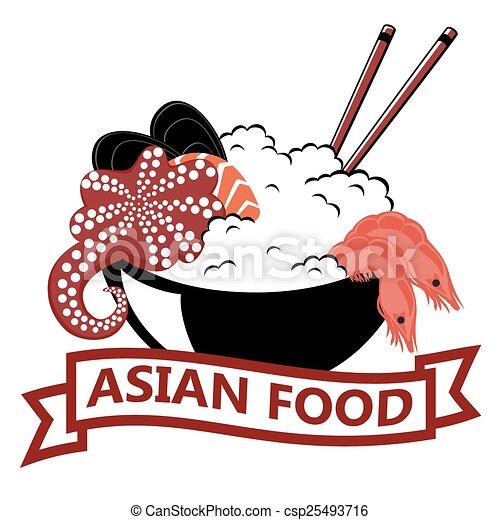 Vector Clip Art of Asian Food, logo csp25493716 - Search ...