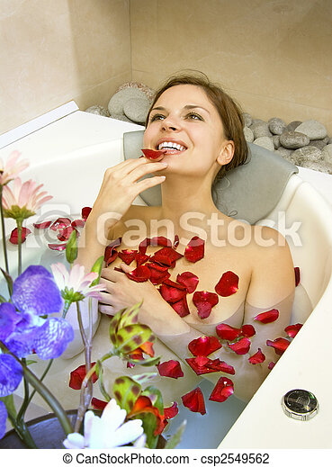 woman in rose-petals - csp2549562