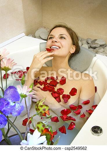woman in rose-petals - csp2549562