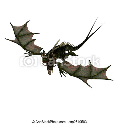 giant terrifying dragon with wings and horns attacks - csp2549583