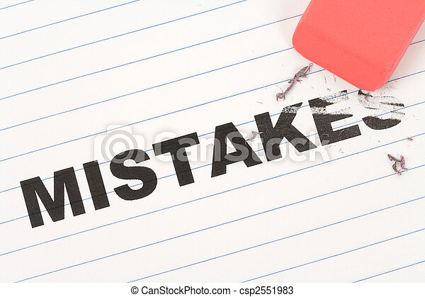 eraser and word mistakes - csp2551983
