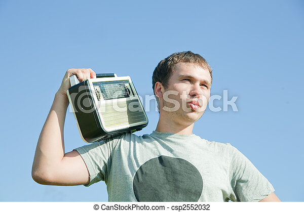 man with old radio receiver - csp2552032