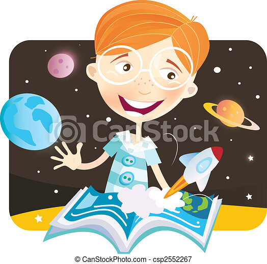 Small boy with story book - csp2552267