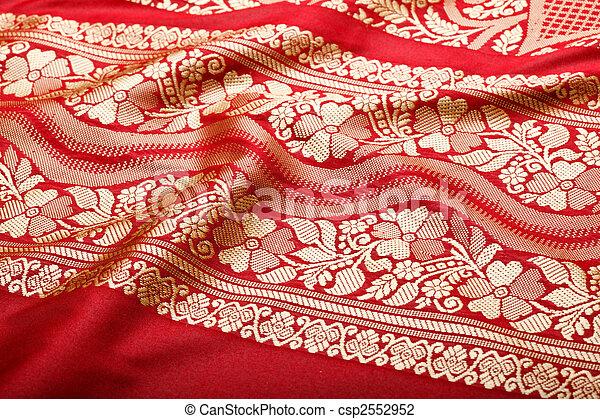 Indian sari with pleats clouse up  - csp2552952
