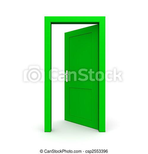 Door Opening Drawing Open Single Green Door
