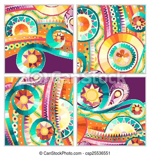 clipart vector of set of four abstract doodle vector cards