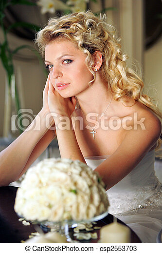 Pretty young blond bride - csp2553703